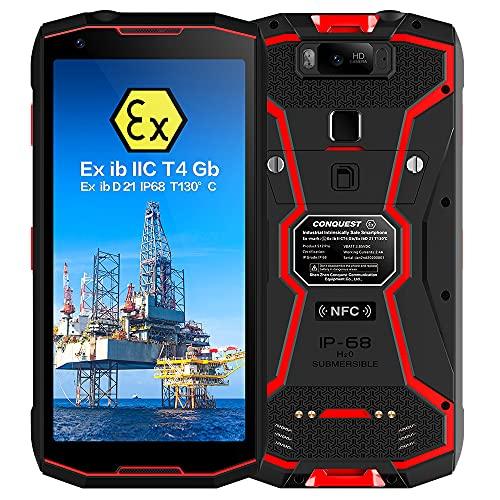 Smartphone Resistente, teléfono S12 Pro ATEX Zone 1/2 intrínsecamente Seguro a Prueba de explosiones 4G IP68, walkie talkies PoC, batería de 8000 mAh, 6G + 128G, Face ID, NFC, GPS(Red, POC)
