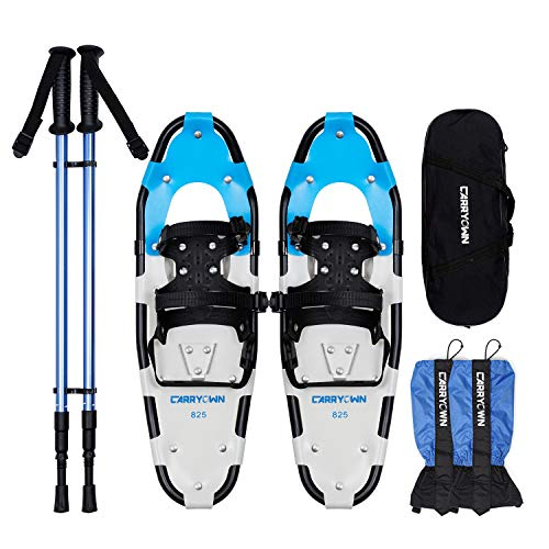 Carryown 4-in-1 Xtreme Lightweight Terrain Snowshoes for Adults Men Women Kids, Light Weight Aluminum Alloy Terrain Snow Shoes with Trekking Poles and Waterproof Leg Gaiters, 14