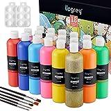 UPGREY Tempera Peinture Kit, 18 Couleurs 400ml Lavable Non-toxique pour Enfants la Peinture au Doigt d'Affiche avec 5 Pinceaux et 1 Palette de Mélange