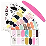 SILPECWEE 6 Sheets Adhesive Nail Art Polish Stickers Tips Cute Cartoon Nail Wraps Decals Strips Set Manicure Accessories And 1Pc Nail File