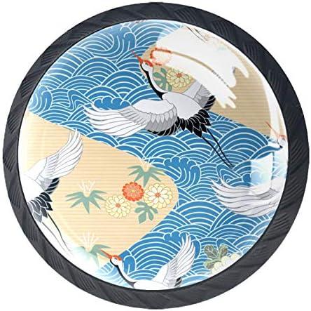 Ladeknoppen Ronde Kast Handgrepen Pull voor Thuiskantoor Keuken Dressoir DecorateVogels Kraan Heron Japanse