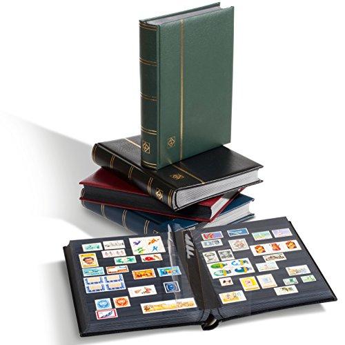 Leuchtturm Briefmarken-Sammel-Album, Einsteckbuch Premium, DIN A4, 32 Schwarze Seiten, wattierter Ledereinband, blau