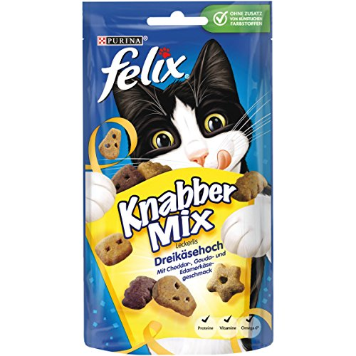 Felix KnabberMix Kattensnacks met eiwitten, vitaminen & Omega 6, kattensnacks zonder toevoeging van kunstmatige kleurstoffen, hoeveelheid: 8-pack (8 x 60 g zak), 8er Pack (8 x 60 g)