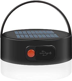 Solcellscampinglampor, laddningsbar vattentät solcellslampa, 4 lägen utomhus tältlykta, bärbar LED-tältlampa för nödsituat...