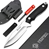 NedFoss Survival Knife with Fire Starter and Kydex Sheath, Outstanding Fixed Blade Camping Knife with Holster, Premium Stainless Steel Blade and Durable G10 Handle, Stand Up to Rigors of Emergency Use