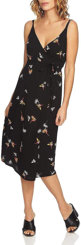 1.STATE Womens Spaghetti Straps Floral Print Wrap Dress