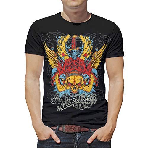 T-Shirts Mit Rundhalsausschnitt SchäDel Mit Goldenen FlüGeln Skelett Gedruckt Kunst Hautfreundlich Oberteile T-StüCke White 2XL