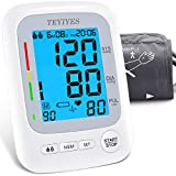 Blood Pressure Monitor, TEYIYES Accurate Automatic Upper Arm Digital BP Machine for Home Use with Large Cuffs, High-Def Backlit Display, 180 Sets Memory, Includes Power Cord, Batteries