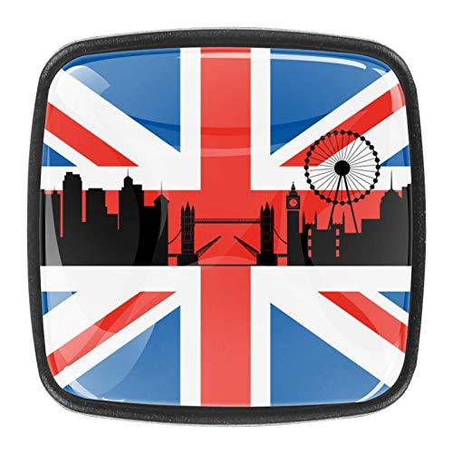 Con tornillos para cocina, aparador, armario, baño, pomos para armarios de cocina, pomos de armario de cristal transparente de 1.18 pulgadas de diámetro, bandera británica de Londres