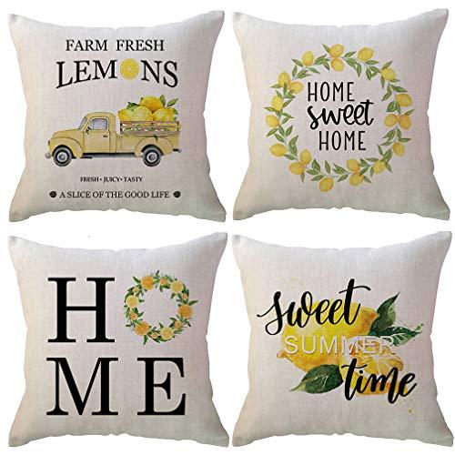 ULOVE LOVE YOURSELF Farm Fresh Lemons Throw Pillow Case Summer Farmhouse Decor Pillow Case Lemon Kranz/Lemon Truck/Lemon Yellow Decorative Cushion Cover 45,7 x 45,7 cm, 4er-Set