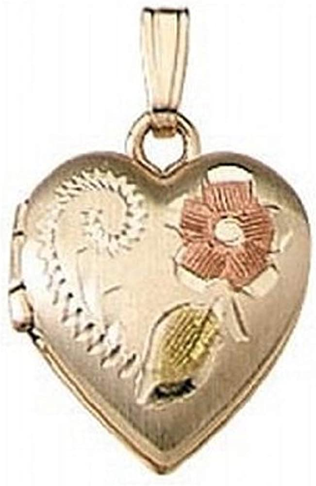 PicturesOnGold.com Solid 14K Yellow Gold Small Heart Locket 1/2 Inch X 1/2 Inch 14K Yellow Gold