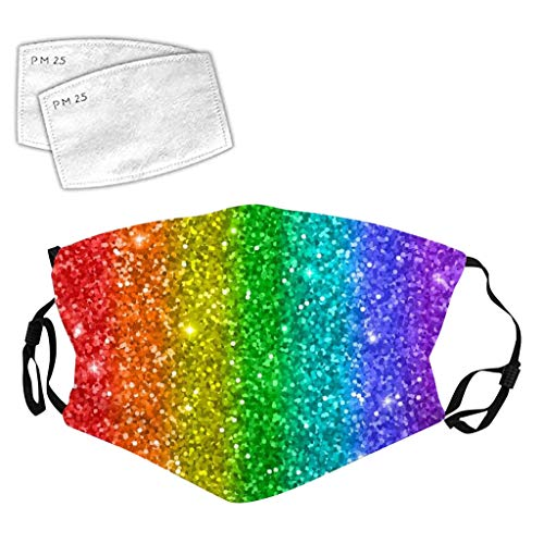TOPEREUR Glitzer Mundschutz Multifunktionstuch 3D Glänzend Mund-Nasenschutz Winddicht Atmungsaktiv Face Shield mit Filter,Mode Party Pailletten Halstuch Bandana Maske