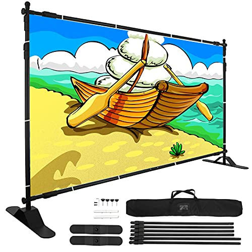 VEVOR 8' Banner Stand Adjustable Display Backdrop Lightweight Portable Trade Show Wall for Photography(8' Banner Stand)…