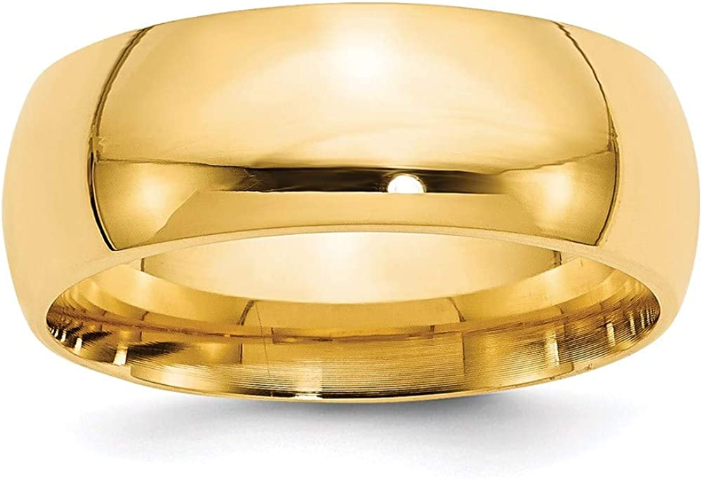 14k Yellow Gold 8mm Comfort Fit Wedding Ring Band Man Classic Cf Style Mm B Width Fine Jewelry For Dad Mens Gifts For Him