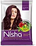 Nisha henna-based Hair color 15gm each packet made from Natural henna leaf No ammonia Burgundy Red (Pack of 10)