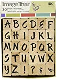 EK Success Image Tree Wood Handle Rubber Stamp Set, Susy Ratto Brush Letter Alphabet/Upper