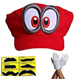 Super Mario Gorra Odyssey - Conjunto de 1x Guantes y 6X Barba pegajosa Costume para Adultos y niños Carnaval y el Cosplay - Ojos