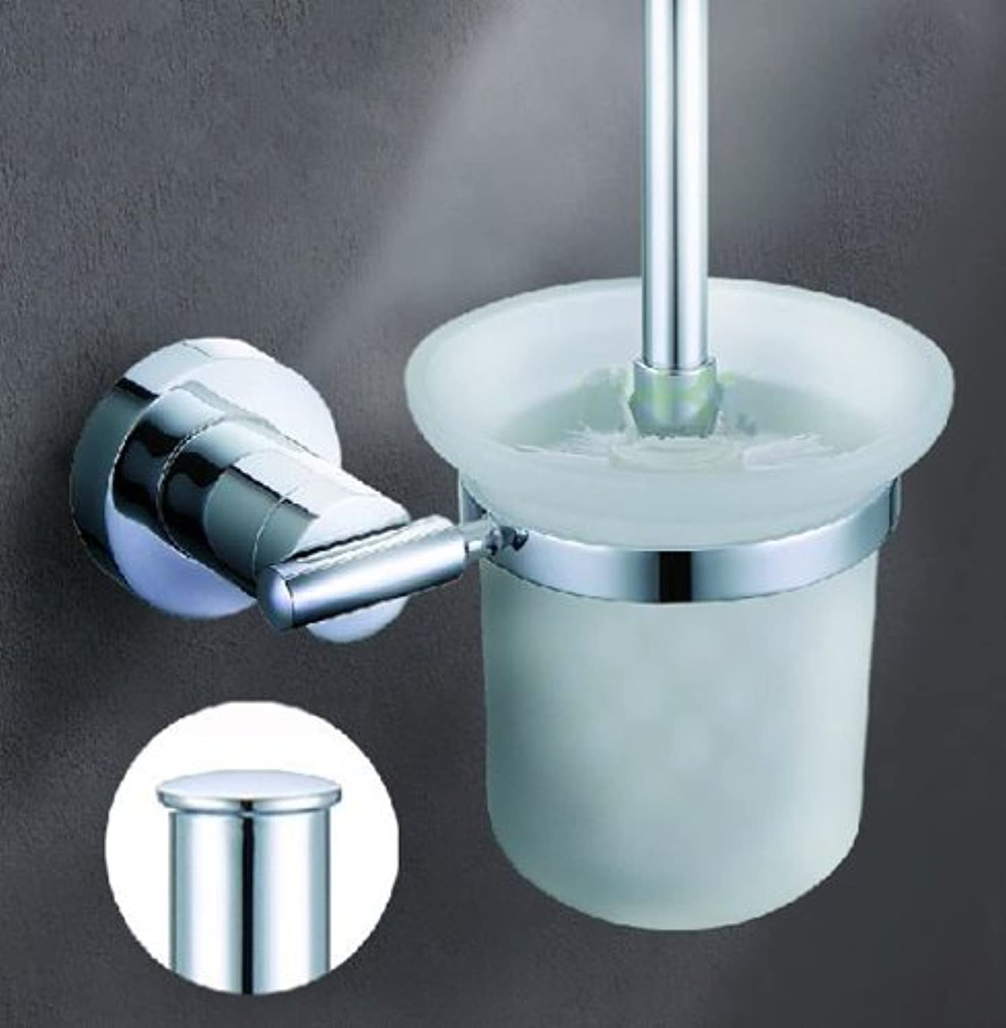 TACCY Bathroom Toilet Brush with Frosted Glass Cup and Brass Holder in Polished Chrome Finish  MT99C
