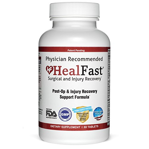 HealFast Surgery & Injury Recovery Supplement (Post-Op): Supports Wound Healing, Pain Relief, Scar Treatment & Bruising w/Anti Inflammatory Vitamins, Bromelain, Quercetin & Probiotics - 80 Tablets