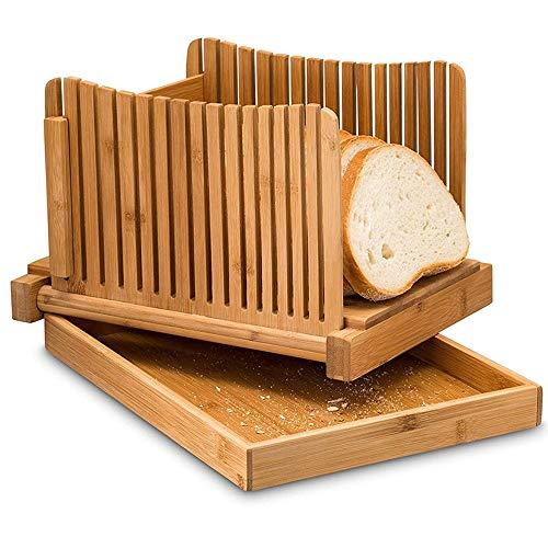 Brioche Brood Bamboe Brood Slicer Met Crumb Lade Bamboe Brood Cutter Voor Zelfgemaakt Brood, Brood Taarten, Bagels Slicer