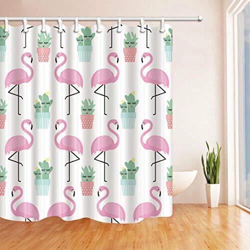 Zbzmm Flamingo Carino Cactus patroon badkamerdecoratie stof 12 haken waterdicht en delicate Domestic Decoratie
