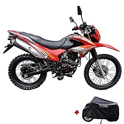 X-Pro Hawk 250 Dirt Bike Motorcycle Bike Dirt Bike Enduro Street Bike Motorcycle Bike with Motorcycle Cover, Bluetooth Speaker and Phone Holder,Red from X-Pro