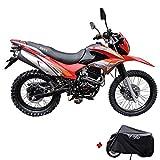 X-Pro Hawk 250 Dirt Bike Motorcycle Bike Dirt Bike Enduro Street Bike Motorcycle Bike with Motorcycle Cover, Bluetooth Speaker and Phone Holder,Red