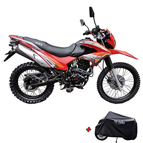 X-Pro Hawk 250 Dirt Bike Motorcycle Bike Dirt Bike Enduro Street Bike Motorcycle Bike with Motorcycle Cover, Bluetooth Speaker and Phone Holder,Red