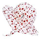 Jan & Jul Verstellbarer Sonnenhut für Kleinkinder Riemen mit 50+ USF, 100% Baumwolle (M: 6-24 Monate, Erdbeere)