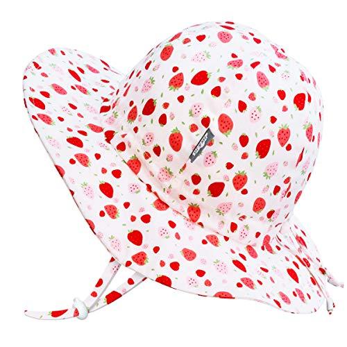 Jan & Jul Mädchen Atmungsaktiv Sonnenhut 50 LSF, Größenverstellbar (XL: 5-12 Jahre, Erdbeere)
