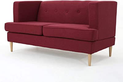 Christopher Knight Home Milton Mid-Century Modern Fabric Loveseat, Deep Red / Natural