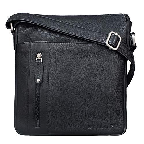 STILORD 'Brady' Messenger Bag Leder Schwarz klein Umhängetasche Schultertasche für iPad 10,1 Zoll Tabletttasche Echtes Leder