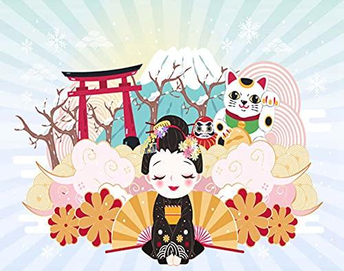Y·JIANG Pintura vintage por números, dibujos animados Geisha Japón viajes DIY lienzo acrílico pintura al óleo por números para adultos niños decoración de la pared del hogar, 40,6 x 40,6 cm
