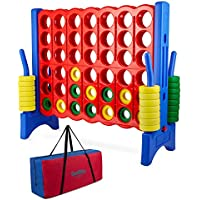 Giantville 4 Feet Wide by 3.5 Feet Tall 4 in a Row Connect Game with Storage Carry Bag (Multicolor)