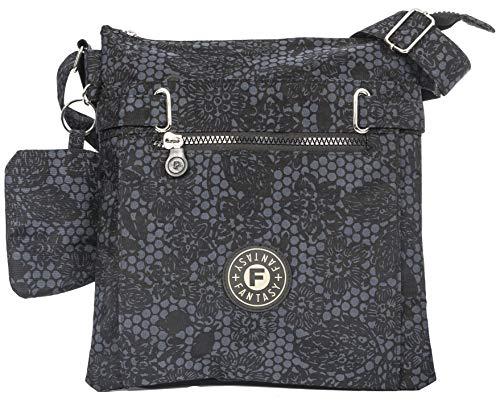 Big Handbag Shop Lightweight Fabric Multi Zip Compartment Messenger Crossbody Shoulder Bag with Elephant Charm (Black Floral)
