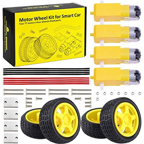 KEYESTUDIO DC TT Motor + Rubber Wheel Tires DIY Starter Kit for Arduino Robot Smart Car Accessories Set for Raspberry Pi Arduino Robotics Set for Kids Adults