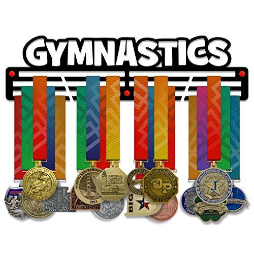 Vitory Hangers - Soporte para medallas de gimnasia, 3 barras de acero con revestimiento negro, 3 mm, con soporte de pared, 18 pulgadas de ancho, con capacidad para 60 medallas o más