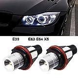 2pcs 1000LM Angel Eyes Luz de Coche LED Bombillas Halo Anillo Marcador 5W 6000K Blanco para BMW X5...