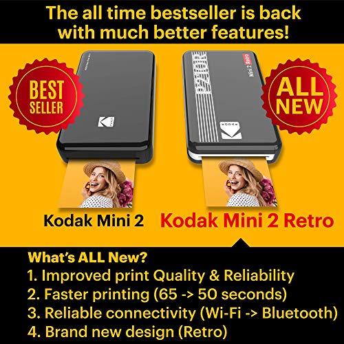 Kodak Mini 2 Impresora fotográfica portátil, Fotos instantáneas Formato 54 x 86 mm, Bluetooth y Compatible con Smartphones iOS y Android – Negro