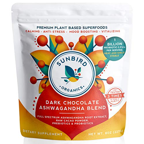 Dark Chocolate Ashwagandha Powder Superfood Drink Mix with Probiotics, Organic Ashwagandha Root Extract, Cacao Powder & Prebiotics. Anxiety Relief, Stress Relief, Adrenal Support. Made in USA