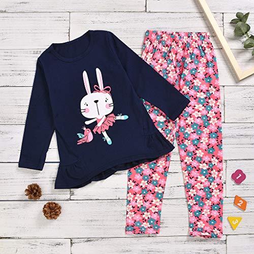 Toddler Kids T-Shirt De Dessin Animé à Manches Longues Pour BéBé Tops + Ensembles De Pantalons à Fleurs (3 -10 Ans)