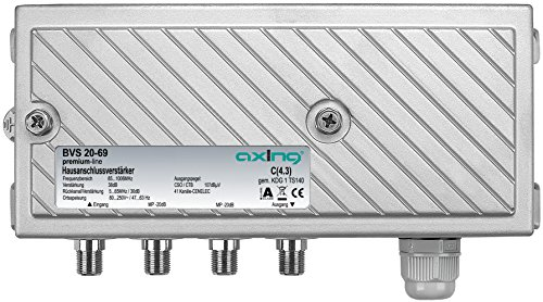 Axing BVS 20-69 Hausanschluss-Verstärker für Kabelfernsehen digital, eingebauter aktiver Rückkanal (38dB, 107dBµV, 1006MHz)