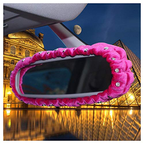 L-elf Plush Car Stretchy Rear View Mirror Cover with Bling Crystal Decor for Women,Pink-1