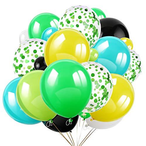 HOWAF 72 Piezas Globos de Confeti de Verde Globo de Fiesta de Colores 30cm Helio Globos de Látex para Bodas, Selva cumpleaños, Baby Shower, Hawaiana, Decoraciones de Fiesta de Ceremonia