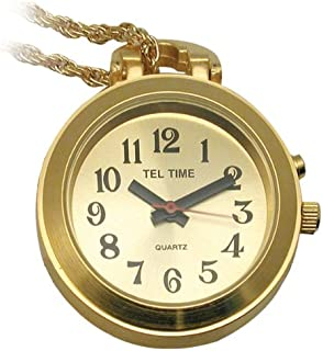 Tel-Time Talking Pendant Ladies Watch - Gold-Tone w-Chain - 1 Button
