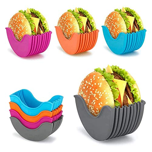 4 Pcs Burger Buddy Burger Fixed Box, Adjustable Hamburger Buns Burger Holder, Burger Holder Reusable Mess, Hygienic Reusable Hamburger Box Silicone Rack Holder Burger Box, BPA-Free & Dishwasher Safe