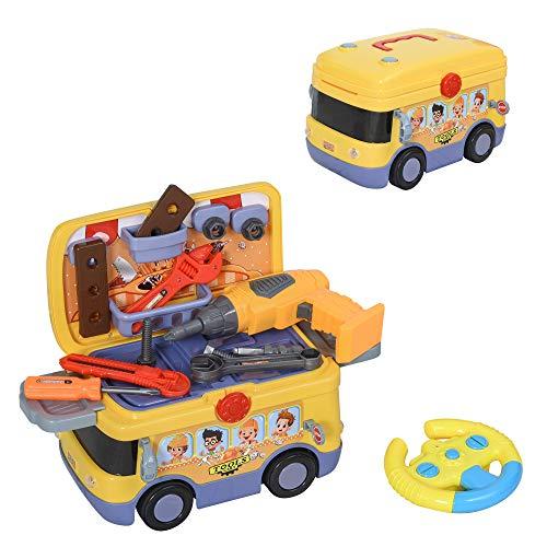 HOMCOM 3-in-1 Kinder Werkzeugwagen Werkzeugset R/C Bus 2,4GHz Ferngesteuertes mit Stauraum vielen Zubehören Licht&Musik für 3-9 Jahre Gelb 40,2 x 22,8 x 28,8 cm