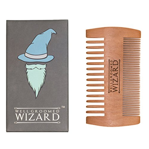 Well Groomed Wizard Wooden Beard Comb for Men, double sided Anti-static Beard Grooming Comb