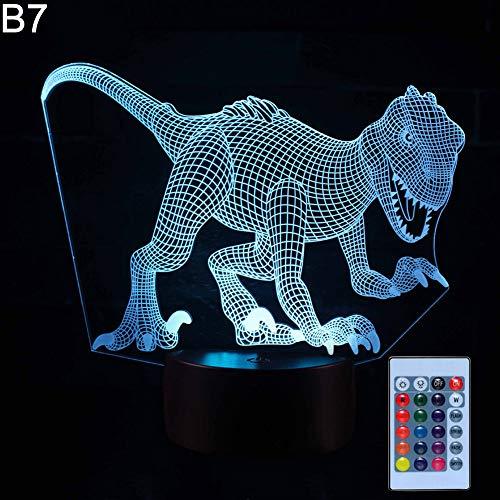 Dinosaurio 3D ilusión color cambiante LED escritorio luz habitación niño mesa noche lámpara - 7 # BFeiyanfyQ