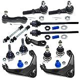 DLZ 14 Pcs Front Suspension Kit-Upper Control Arm Ball Joint Tie Rod End Sway Bar Pitman Arm (3 Groove) Idler Arm Compatible With Avalanche 2500 2002-2006 K6535 K6693 K6696 ES3488 K80631 K6654 ES3609